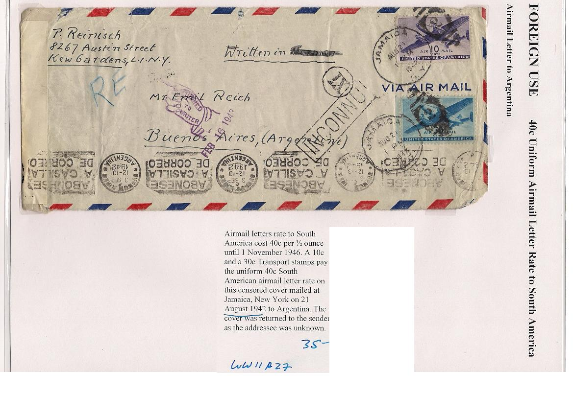 Latin America Worldwide Strict Brazil Ww2 Censored Air Mail Cover To Argentina 1944